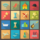 set of sixteen rest and entertainment  icons in flat design styl