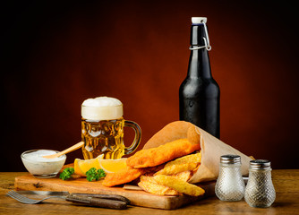 fish and chips menu with beer