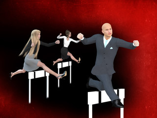 Businessman and businesswomen in a hurdle race