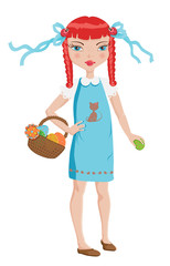 Cute girl with a blue dress and red hair on Easter egg hunt