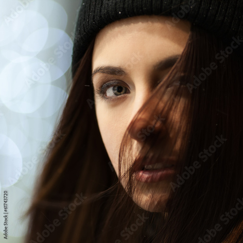 Evening portrait of a beautiful girl, close-up