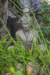 Statue sitting in lotus ascetic in the green grass.