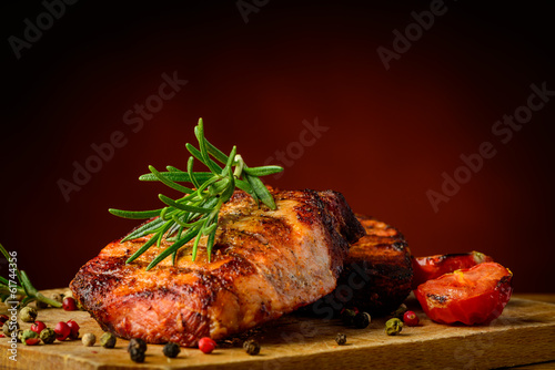 Grilled meat and rosemary