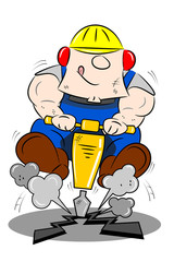 A cartoon workman drilling the road with a pneumatic drill