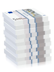 five euro banknotes stacks