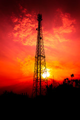 reception antenna with orange sky
