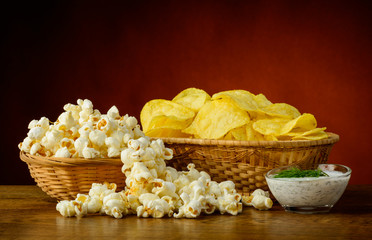 Potato chips and popcorn