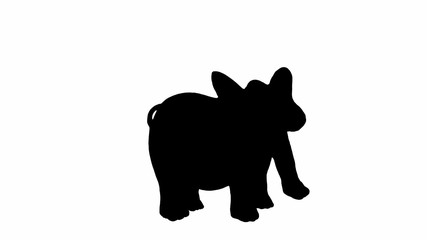 elephant cartoon animation walking cycle, Alpha channel