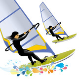 illustration of windsurfing