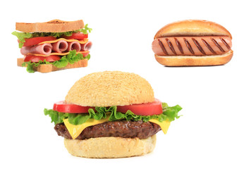 Three different kinds of fast foodood