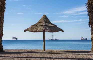 Golden beach in Eilat - famous resort in Israel