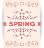 Spring poster with leaves decoration design. Vector eps10