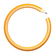 Lead pencil in the form of a circle on a white background