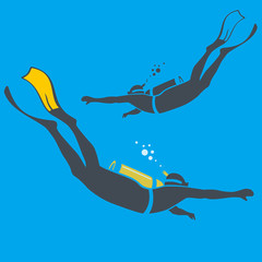 illustration of divers