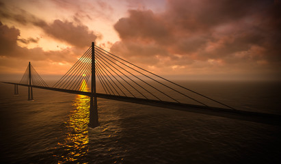 Suspension bridge on sunset