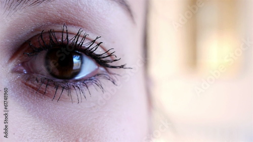 Woman eye with mascara close up