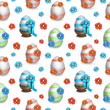 Easter eggs illustrations. Seamless pattern