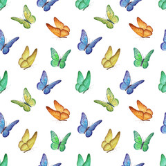 Seamless pattern with watercolor butterfly illustrations