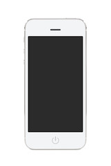 White modern mobile smart phone with blank screen