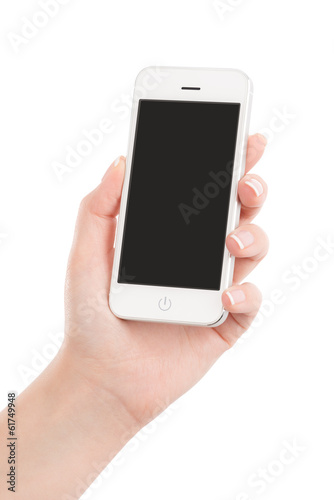 Female hand holding modern white mobile smart phone with blank s