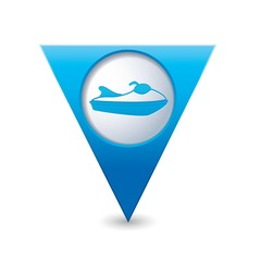Map pointer with water scooter icon