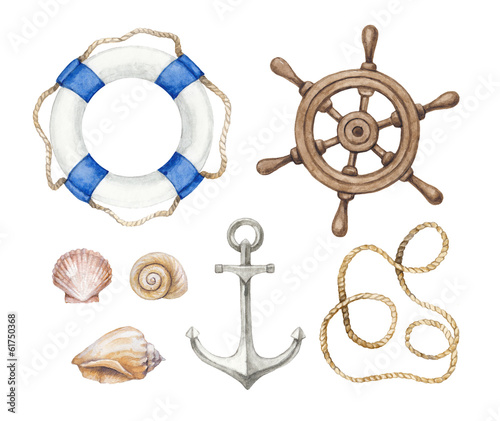 Set of a wattercolor nautical illustrations