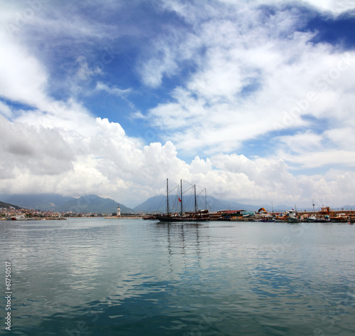 bay with boats and yachts in Alanya