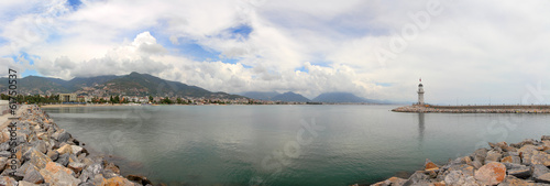 panorama of bay with lighthouse in Alanya
