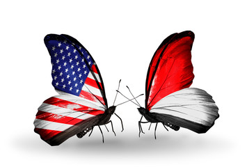 Two butterflies with flags USA and Indonesia or Monaco