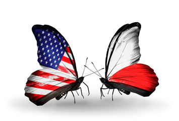 Two butterflies with flags USA and Poland