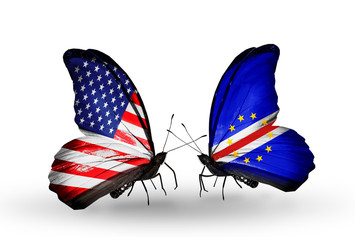 Two butterflies with flags USA and Cape Verde