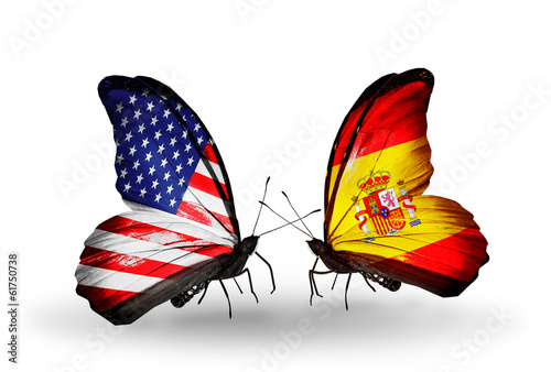 Two butterflies with flags USA and Spain