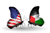 Two butterflies with flags USA and Palestine
