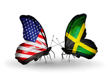 Two butterflies with flags USA and Jamaica