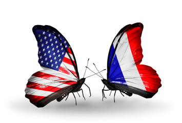 Two butterflies with flags USA and France