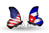 Two butterflies with flags USA and Cuba