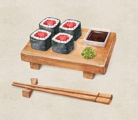 Delicious sushi. Watercolor illustration