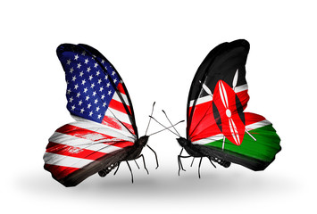 Two butterflies with flags USA and Kenia