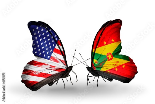 Two butterflies with flags USA and Grenada