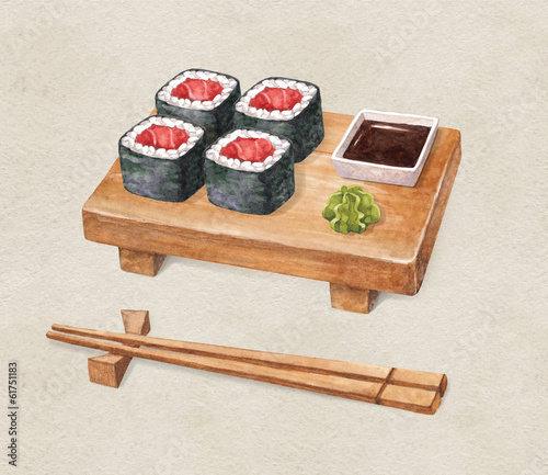 Delicious sushi. Watercolor illustration