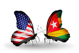 Two butterflies with flags  USA and Togo