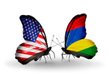 Two butterflies with flags  USA and Mauritius