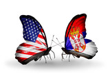 Two butterflies with flags USA and Serbia