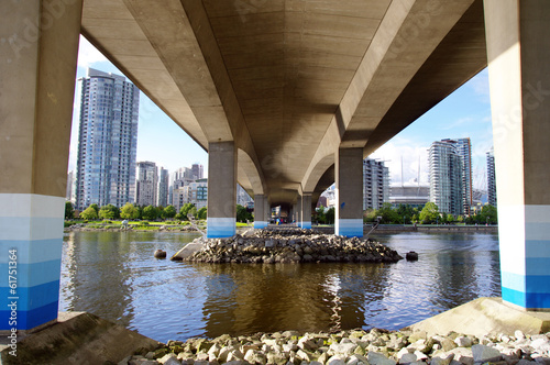 The foundations of Cambie Bridge spanning False Creek , Vancouve