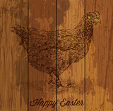 Hand Drawn Chicken Over Wooden Backgound - Easter Card Design