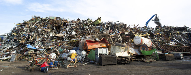 Scrap metal recycling plant and crane