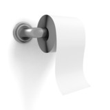 toilet paper on chrome holder white wall