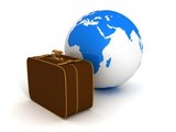 brown traveling suitcase with blue earth globe