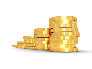 Successful growing golden coins bar chart on white background