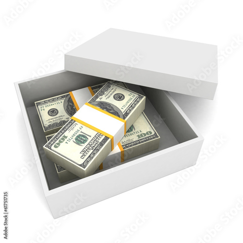 100 dollar bills in present cardboard with cover on white backgr